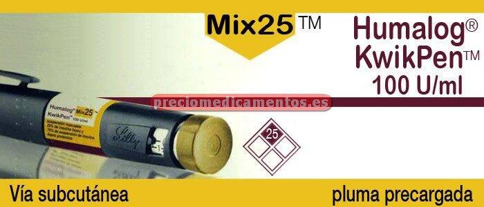 Caja HUMALOG MIX 25 KWIKPEN 100 UI/ml 5 plumas precargadas 3ml