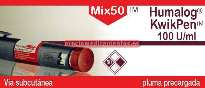 Caja HUMALOG MIX 50 KWIKPEN 100 UI/ml 5 plumas precargadas 3ml
