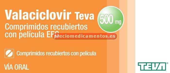 Caja VALACICLOVIR TEVA EFG 500 mg 42 compr cub pelic