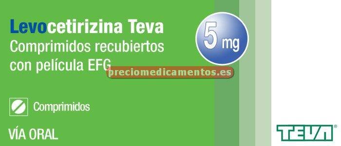 Caja LEVOCETIRIZINA TEVA EFG 5 mg 20 compr cub pel