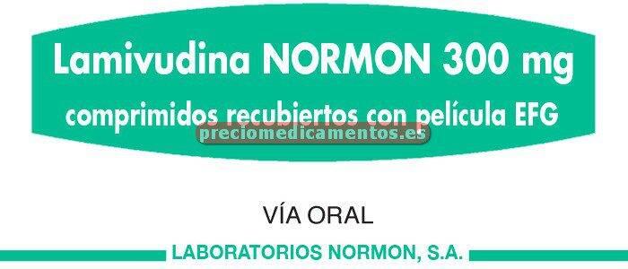 Caja LAMIVUDINA NORMON EFG 300 mg 30 comprimidos recub
