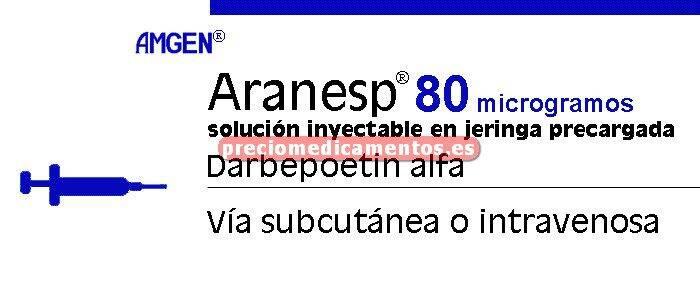Caja ARANESP 80 mcg 4 jeringas precarg 0,4 ml C/PROTEC