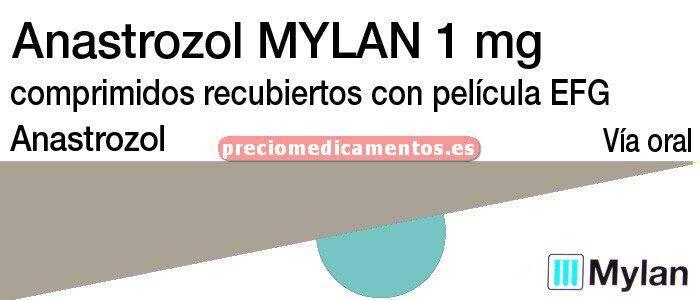 Caja ANASTROZOL MYLAN EFG 1 mg 28 comprimidos