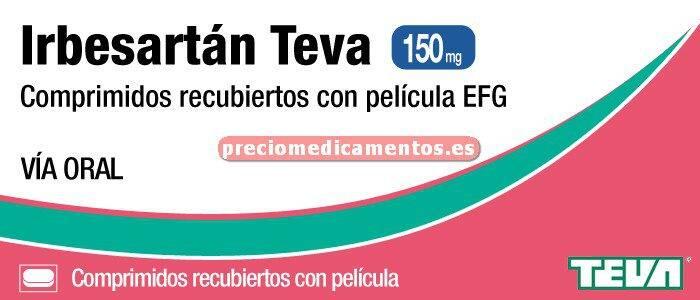 Caja IRBESARTAN TEVA EFG 150 mg 28 comprimidos recub
