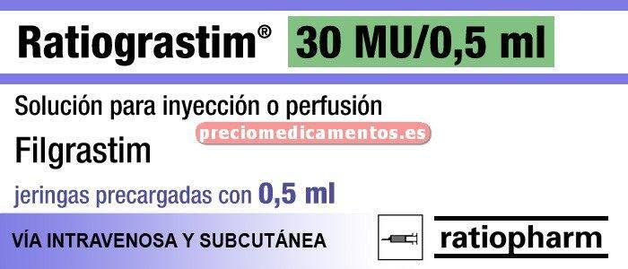 Caja RATIOGRASTRIM 300 mcg 5 jeringa prec 0,5 ml SEGUR