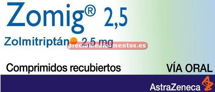 Caja ZOMIG 2.5 mg 3 comprimidos recub pelicular
