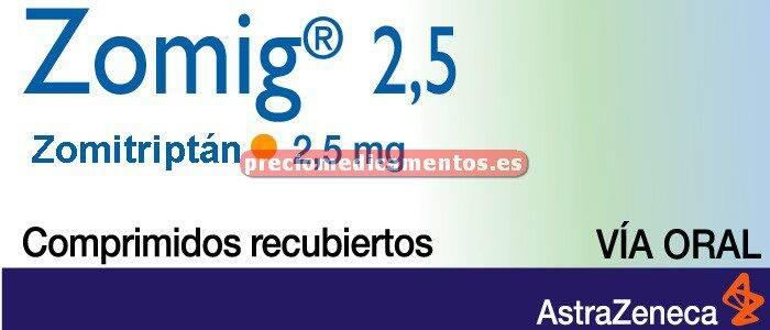 Caja ZOMIG 2.5 mg 6 comprimidos recub pelicular