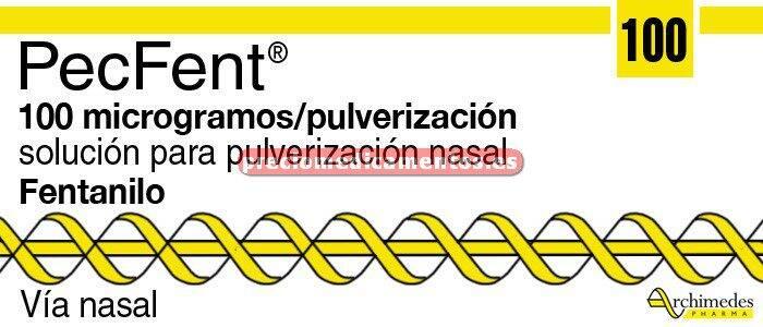Caja PECFENT 100 mcg/dosis sol pulver nasal 4 frascos