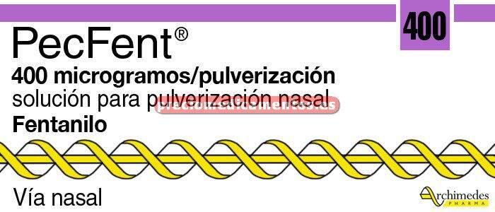 Caja PECFENT 400 mcg/dosis sol pulver nasal 4 frascos