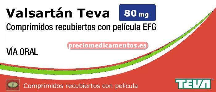 Caja VALSARTAN TEVA EFG 80 mg 28 comprimidos recub