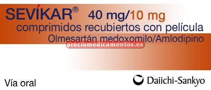 Caja SEVIKAR 40/10 mg 28 comprimidos recubiertos