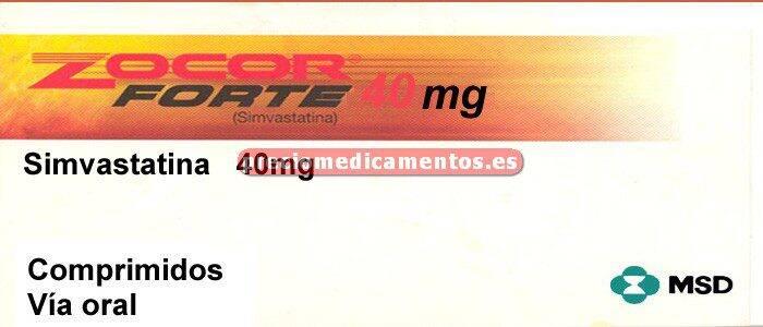 Caja ZOCOR FORTE 40 mg 28 comprimidos recubiertos