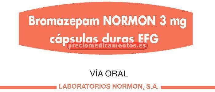Caja BROMAZEPAM NORMON EFG 3 mg 30 cápsulas