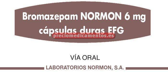 Caja BROMAZEPAM NORMON EFG 6 mg 20 cápsulas