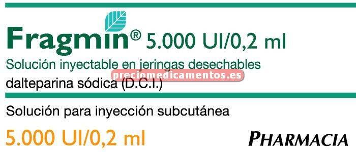 Caja FRAGMIN 5000 UI 25 jeringas precargadas 0.2 ml