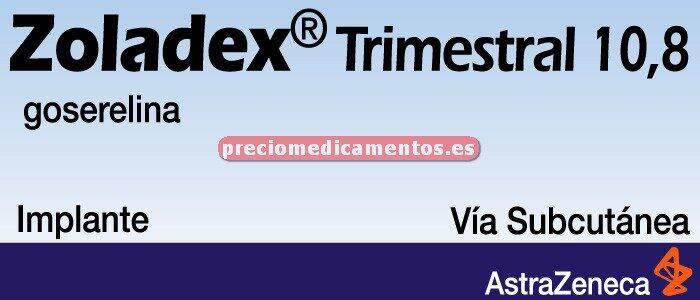 Caja ZOLADEX TRIMESTRAL IMPLANTE DEPOT 10,8 mg jer prec