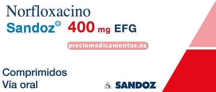 Caja NORFLOXACINO SANDOZ EFG 400 mg 14 comprimidos