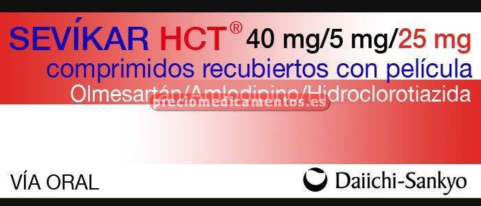 Caja SEVIKAR HCT 40/5/25 mg 28 comprimidos recub