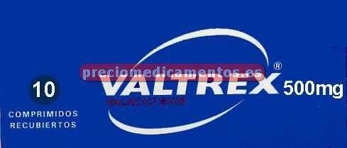 Caja VALTREX 500 mg 10 comprimidos cubierta pelicular