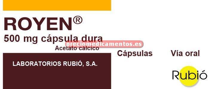 Caja ROYEN 500 mg (127 mg Ca) 120 cápsulas
