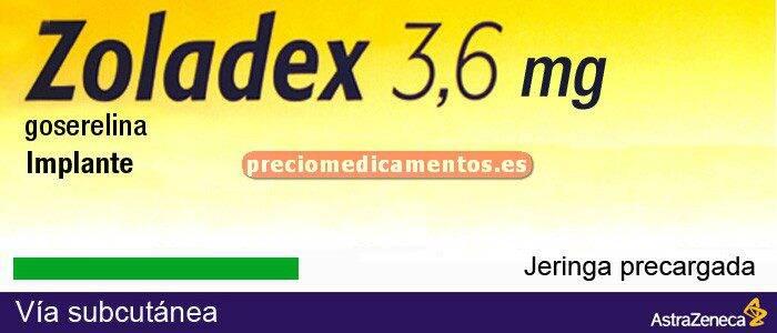 Caja ZOLADEX IMPLANTE DEPOT 3,6 mg 1 jeringa precargada
