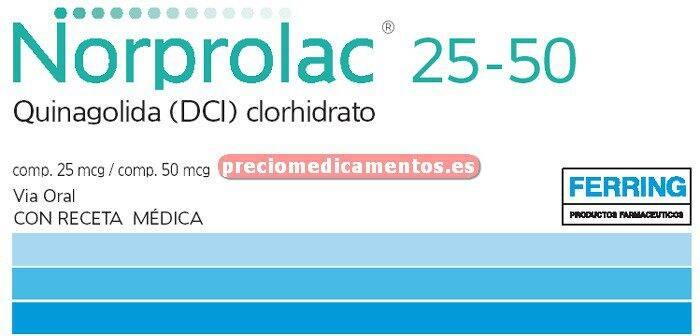 Caja NORPROLAC 25 mcg 3 compr - 50 mcg 3 compr