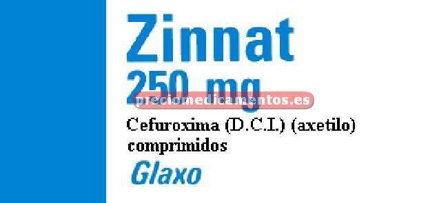 Caja ZINNAT 250 mg 20 comprimidos recubiertos