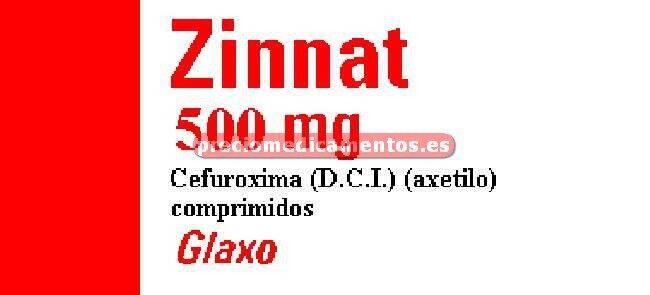 Caja ZINNAT 500 mg 20 comprimidos recubiertos