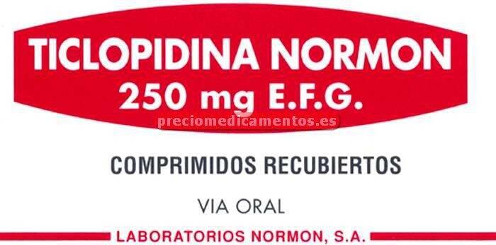 Caja TICLOPIDINA NORMON EFG 250 mg 20 comprimidos