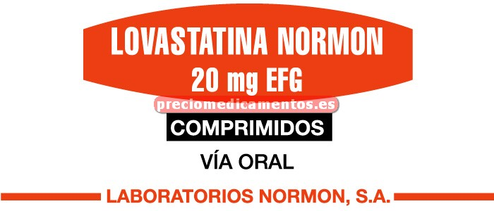Caja LOVASTATINA NORMON EFG 20 mg 28 comprimidos