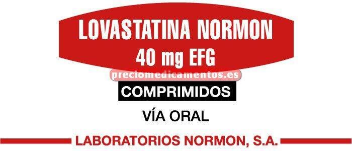 Caja LOVASTATINA NORMON EFG 40 mg 28 comprimidos