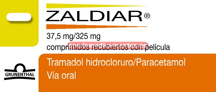 Caja ZALDIAR 37,5 mg/325 mg 20 comprimidos recubiertos