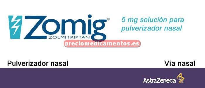 Caja ZOMIG 5 mg/dosis 2 pulverizadores dosis unitaria