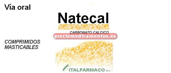 Caja NATECAL 1500 mg (600 mg Ca) 20 comprimidos mastic