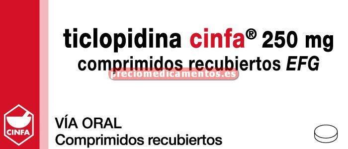 Caja TICLOPIDINA CINFA EFG 250 mg 50 comprimidos recub