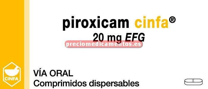 Caja PIROXICAM CINFA EFG 20 mg 20 comprimidos dispers