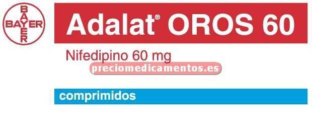 Caja ADALAT OROS 60 mg 28 comprimidos liber prolongada