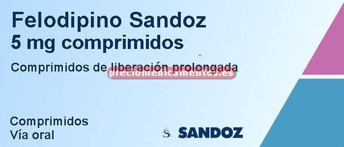Caja FELODIPINO SANDOZ 5 mg 30 compr liber prolongada