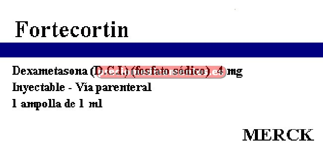 Caja FORTECORTIN 4 mg/ml 3 ampollas 1 ml