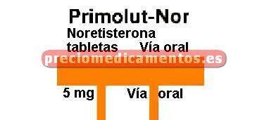 Caja PRIMOLUT NOR 5 mg 20 comprimidos