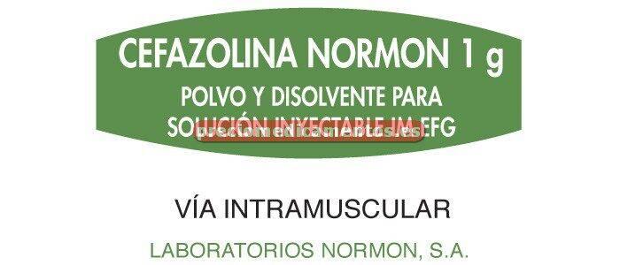 Caja CEFAZOLINA NORMON EFG 1 g IM 1 vial + amp 4 ml