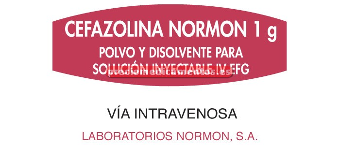 Caja CEFAZOLINA NORMON EFG 1 g IV 1 vial - amp 4 ml