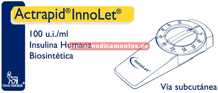 Caja ACTRAPID INNOLET 100 UI/ml 5 plumas precargadas 3 ml
