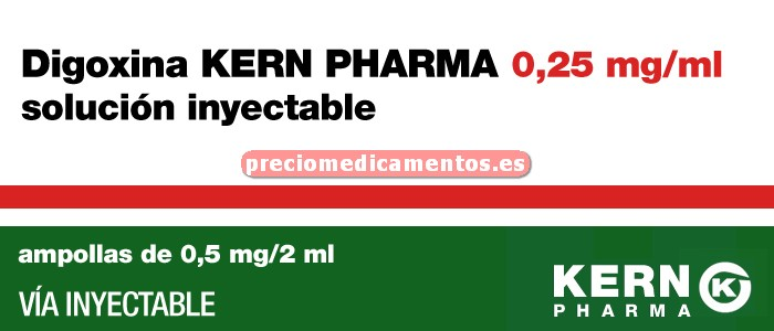 Caja DIGOXINA KERN PHARMA 0.25 mg/ml 5 ampollas 2 ml