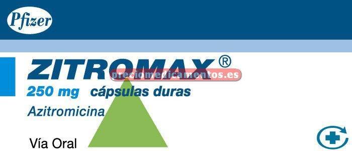 Caja ZITROMAX 250 mg 6 cápsulas
