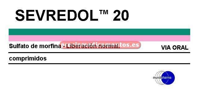 Caja SEVREDOL 20 mg 12 comprimidos