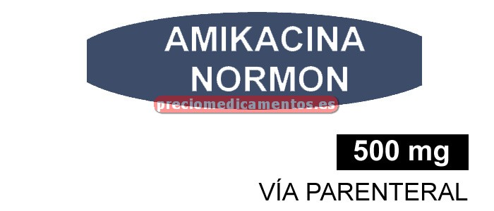 Caja AMIKACINA NORMON EFG 500 mg 1 vial 2 ml