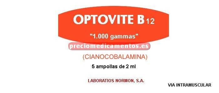 Caja OPTOVITE B12 1 mg 5 ampollas 2 ml