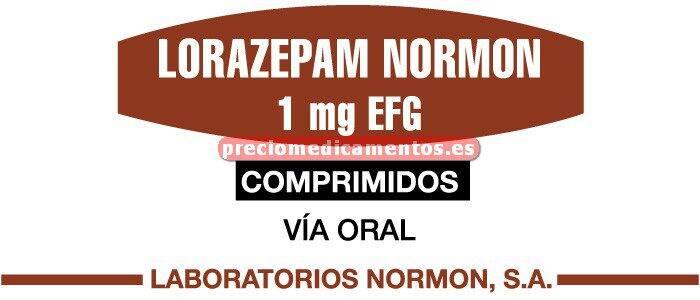 Caja LORAZEPAM NORMON EFG 1 mg 50 comprimidos
