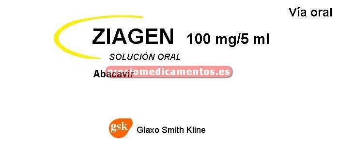 Caja ZIAGEN 100 mg/5 ml solución oral 240 ml